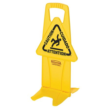 """Stable Safety Sign with Tri-Lingual """"Caution"""" Imprint"""