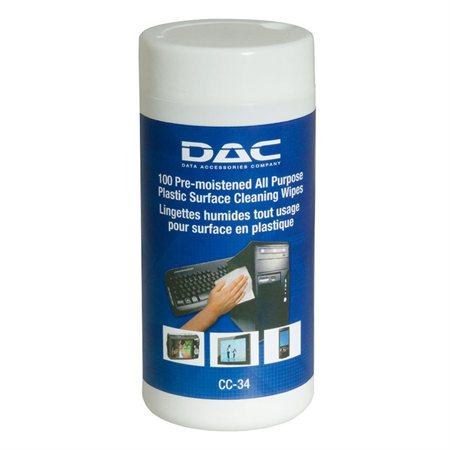 Chiffons de nettoyage pré-humidifiés surfaces de plastique CC-34
