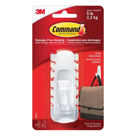 Command™ Adhesive Hooks 1 large hook with 2 strips Holds 5lb. White