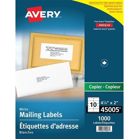 Étiquettes d'adresse blanches pour photocopieur