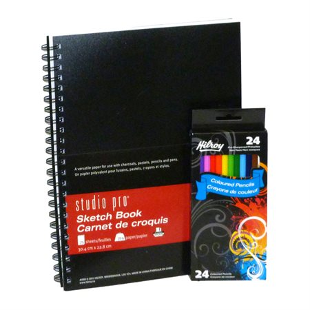 Sketch Book and Coloured Pencils