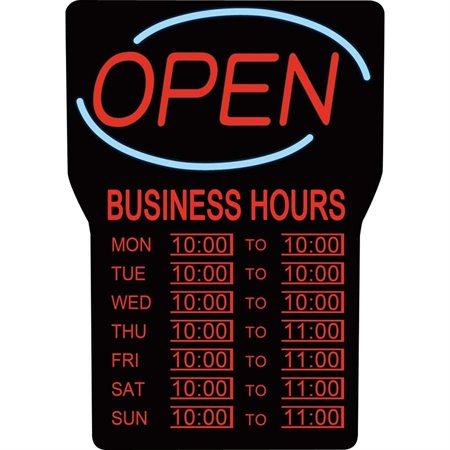 Enseigne lumineuse et heures d'affaires