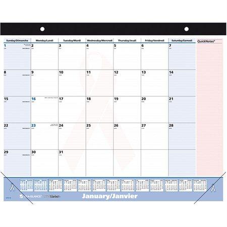 Calendrier de bureau mensuel Ruban rose QuickNotes®