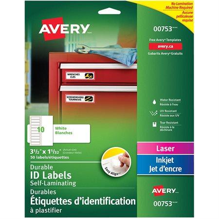 Étiquettes d'identification à plastifier durables