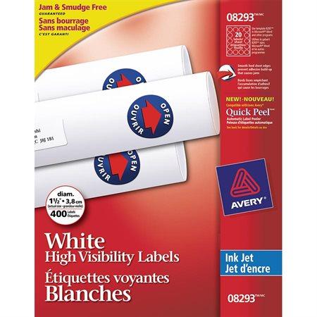 Étiquettes voyantes blanches