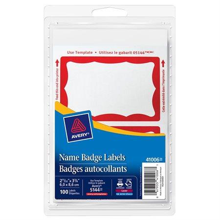 Self-adhesive name badge labels