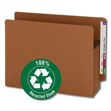 """100% Recycled End Tab Redrope File Pocket 3-1 / 2"""" expansion. Box of 25. letter"""