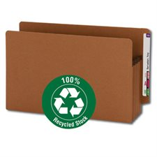 """100% Recycled End Tab Redrope File Pocket 3-1 / 2"""" expansion. Box of 25. legal"""