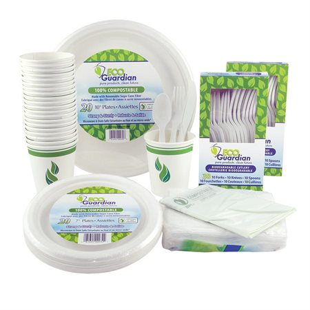 Ensemble de vaisselle compostable Eco Guardian