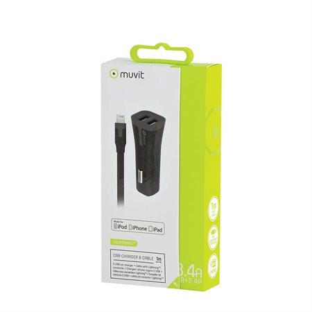 Chargeur USB double pour voiture pour appareils Lighthing