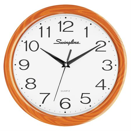 "27007 FASHION WALL CLOCK 12"" FAUX WOOD"