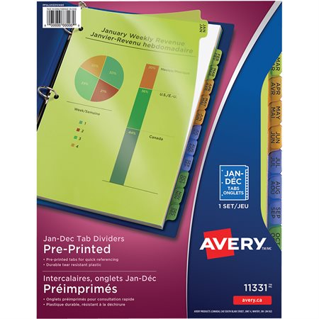 11331 PREPRT JAN-DEC POLY DIVIDERS ASSTD