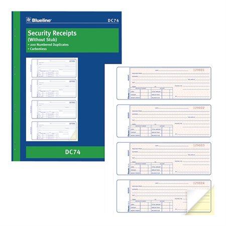 Carbonless Security Receipt Book