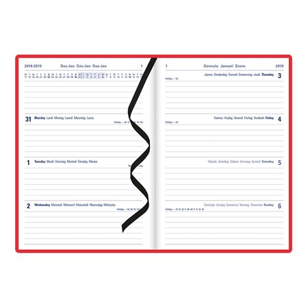 """CME3XRD LETTS PLANNER WKLY 8.25X5.8"""" MLNGL RED"""