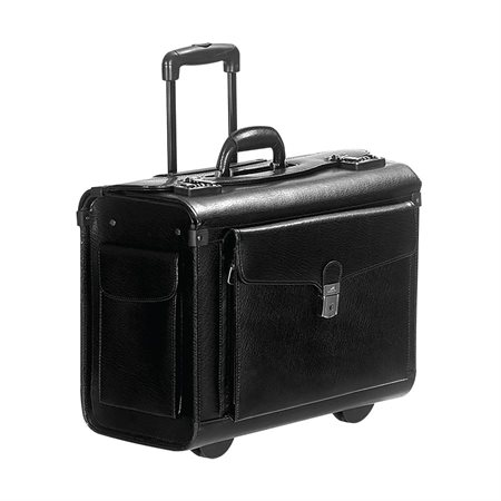 CAT. CASE W / WHEELS LTHR *BLACK