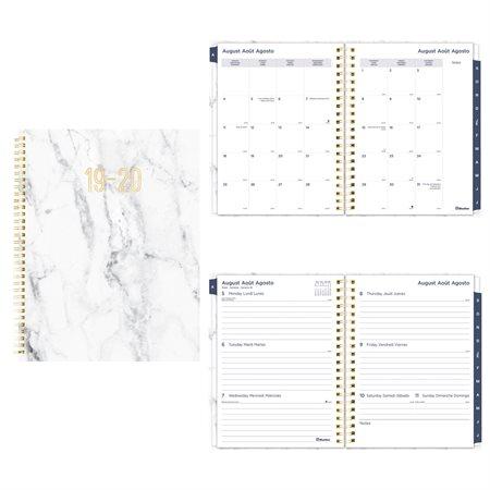 Agenda académique hebdomadaire mensuel marbre (2019-2020)