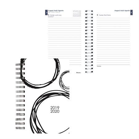 Agenda académique quotidien noir et blanc (2019-2020)