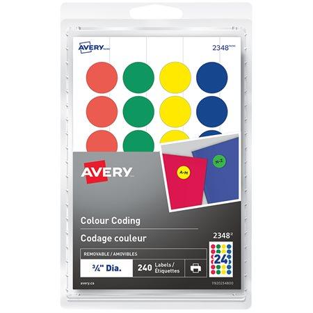 Étiquettes de codage couleur autoadhésives