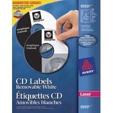 CD Labels Removable. For laser printers. pkg 50